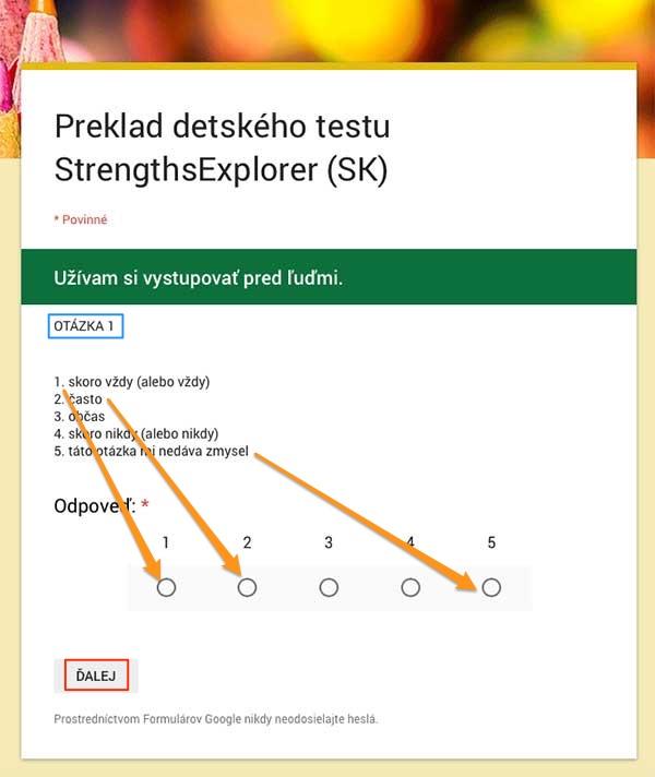 vysvetlenie ako vyplniť detský test silných stránok StrengthsExplorer