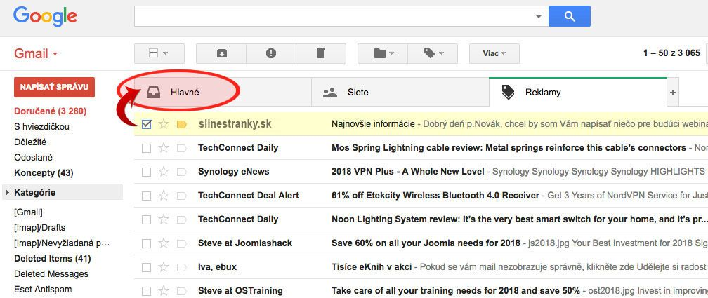 doručenie emailov doGMAIL