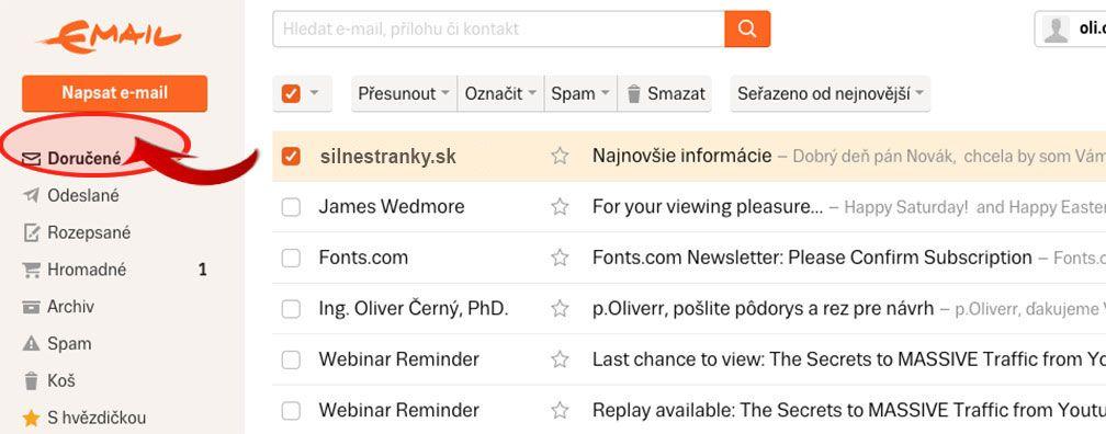 doručenie emailov doSEZNAM