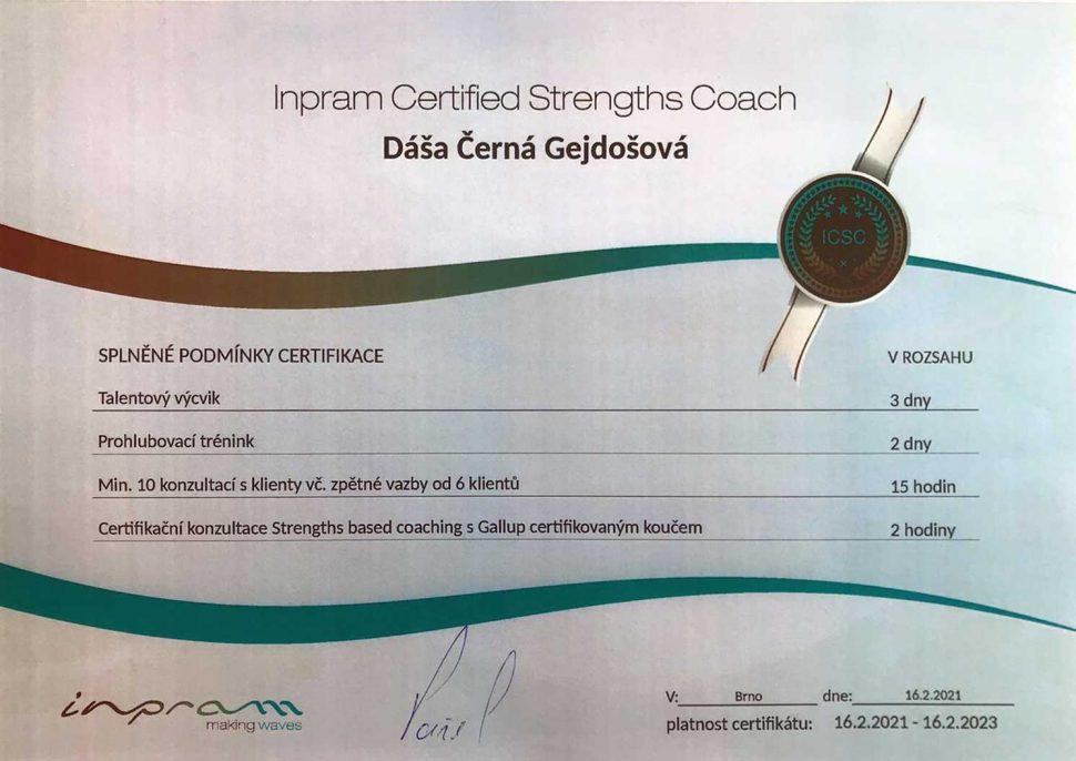Dáša certificate Inoram